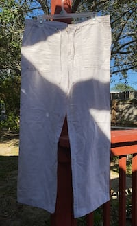 Gap Off white linen wide leg pants size 8