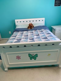 Full bed with dresser and end table is for sale. Does not include mattress
