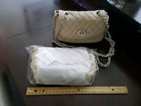 women's quilted white leather sling bag