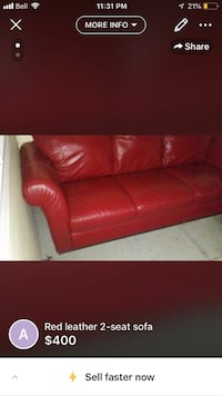 red leather 2-seat sofa 3731 km