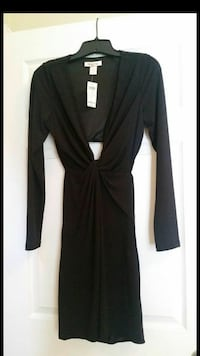 Never worn Black low front knotted dress