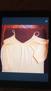 Cold shoulder top yellow soft fabric