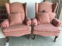 Two red-and-white fabric sofa chairs Bakersfield, 93311