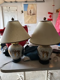 two white ceramic base table lamps Mississauga, L5N 6Z4