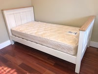 Solid wood white twin bed frame and mattress , V0R