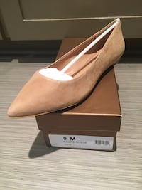pair of brown suede pointed-toe flats with box Lafayette