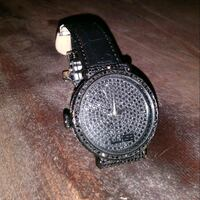 round silver-colored analog watch with black leath Omaha, 68111