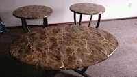 two brown wooden side tables 39 km