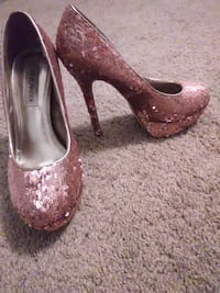 pair of gold glittered platform stilettos SANANGELO