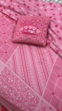 Girls double quilt and princess pillow, plus double fitted, flat and 2 pillow cases Coquitlam, V3J 4A2