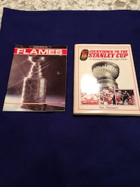 Hard cover book on the Calgary Flames road to winning the Stanly Cup and 1986 souvenir of the Flames officially winning the Stanly Cup Calgary, T2M 2P2