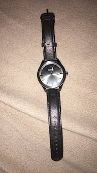 Round black analog watch with black leather strap Hamilton, L8V 2N4