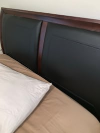 Queen Sleigh Bed with leather headboard