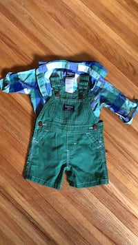 Oshkosh overalls with plaid collared onesie  Burnaby, V3N 2L9