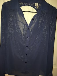 blue button-up long-sleeved collared shirt