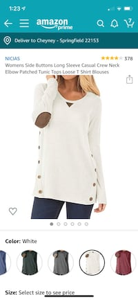 White Sweater with Suede Elbow Pads Springfield, 22153