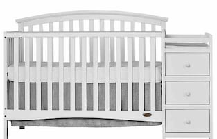 5-in-1 crib with attached changing table