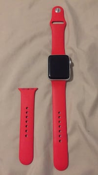silver aluminum case Apple Watch with red sports band Brampton, L6S 2B4