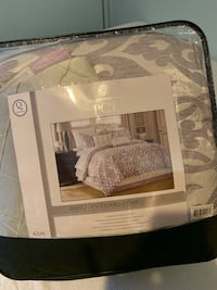 Bedding- brand new. Queen sized Silver embroidered
