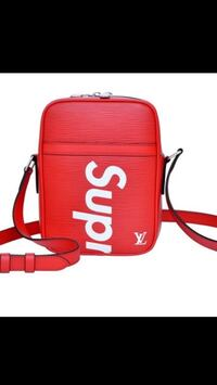red and white Supreme x Louis Vuitton leather shoulder bag