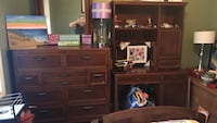 Brown wooden dresser with mirror and desk with shelf. Real wood East Brunswick, 08816