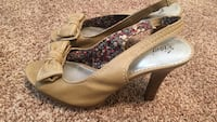 Pair of brown leather sling-back bow-accent heeled sandals Colorado Springs, 80918