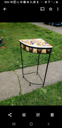 Mosaic plant stand side accent corner table