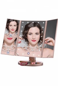 Brand New in box (rose gold) Lighted Makeup Mirror Tri-Fold Cosmetic Vanity Mirrors with 21 led Lights 3X 2X 1 Magnification USB Charging 180 Degree Rotating for Travel Dressing Bedroom Countertop Tabletop Arnold, 63010