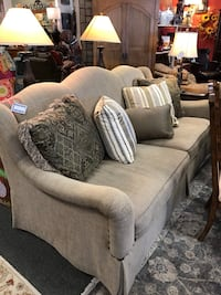 Bernhardt Taupe Sofa/5 Pillows
