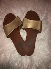 pair of brown leather open toe ankle strap sandals