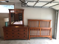 Oak dresser mirror with queen size bed frame. Side rails included(not pictured) Wichita, 67212