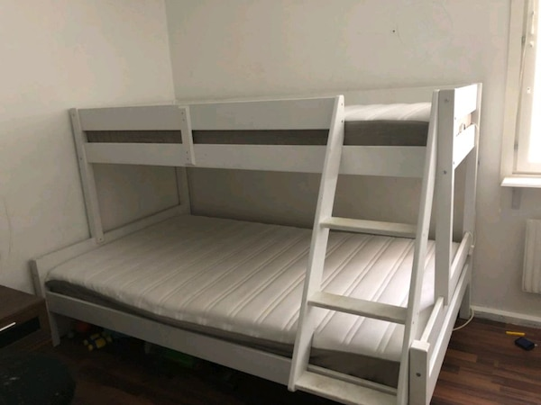White colour bunk bed with mattress