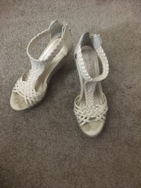 pair of white open-toe ankle strap heels Burnaby, V5A
