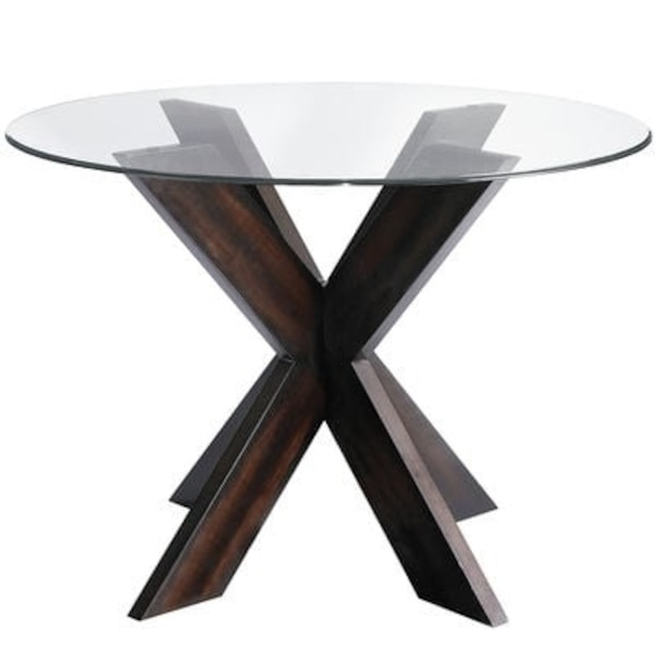 """Espresso Wood Dining Room Table with 42"""" Glass Top"""
