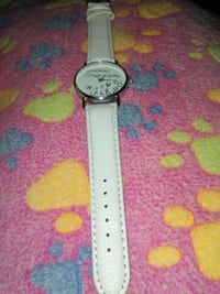 round silver analog watch with white leather strap Largo