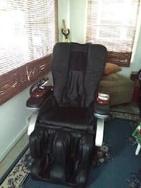 black leather padded glider chair