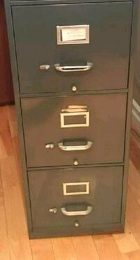 gray metal 3 drawer filing cabinet