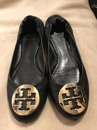 Tory Burch black leather ballerina flats sz 8/8.5