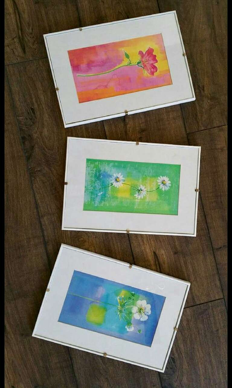 SET OF 3 FLORAL WALL PICTURES