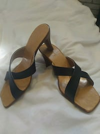 pair of black leather open-toe ankle strap sandals Toronto, M6A 2S3