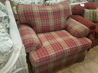 red and white plaid fabric sofa chair Forest Hill, 21050