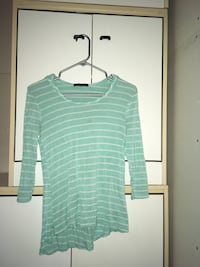 women's green-and-white striped scoop neck shirt