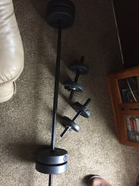 Black barbell and two black dumbbells New Market, 37820