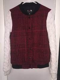 Red, black, and white button-up jacket