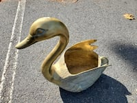 Large Brass Swan Garden Planter, 21 inches tall, A Tysons