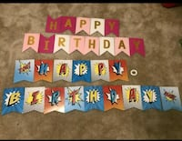 Happy birthday banner party decoration... 2 sets ribbon included