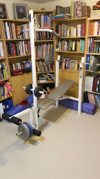 Workout bench plus weights
