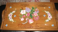 Antique Large Wood Tray -  Hand Painted by an artist, from  Quebec TORONTO