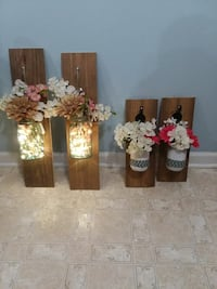 four brown wooden pallet wall sconce lamps Decatur, 37322