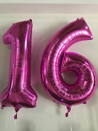Sweet 16 big inflated helium balloons (fuchsia color)  Miami, 33175